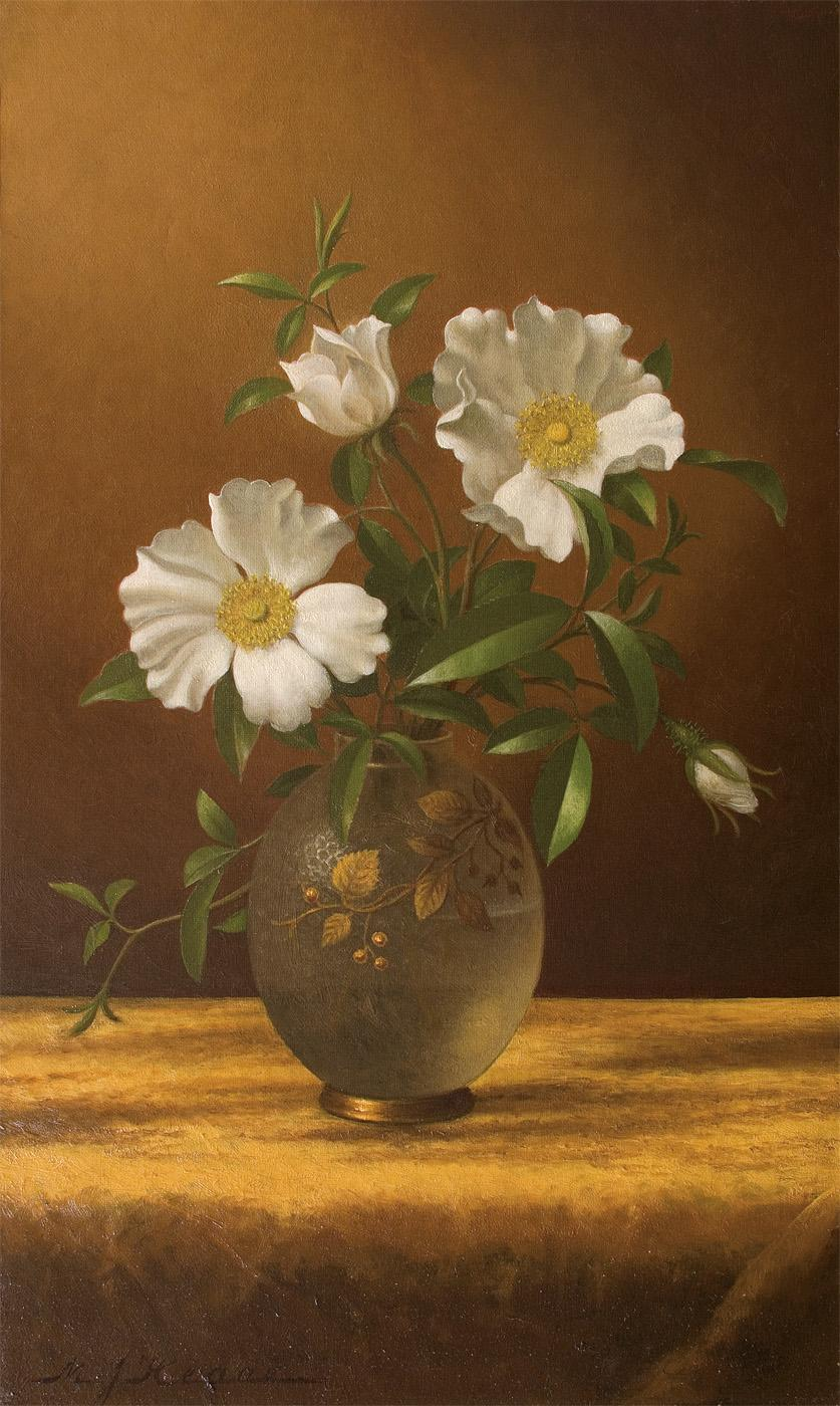 Cherokee Roses in an Opalescent Vase