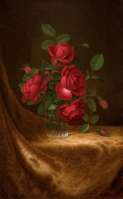 Four Red Roses in a Glass