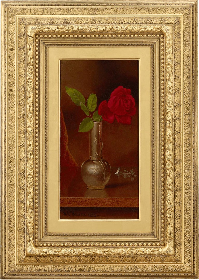 Red Rose in a Standing Vase - Painting by Martin Johnson Heade