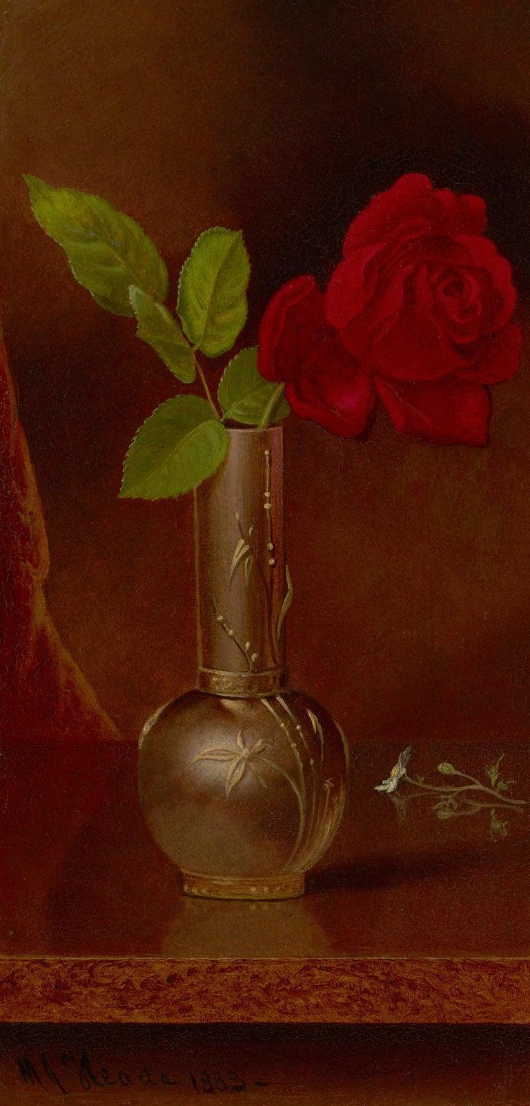 Martin Johnson Heade Still-Life Painting - Red Rose in a Standing Vase