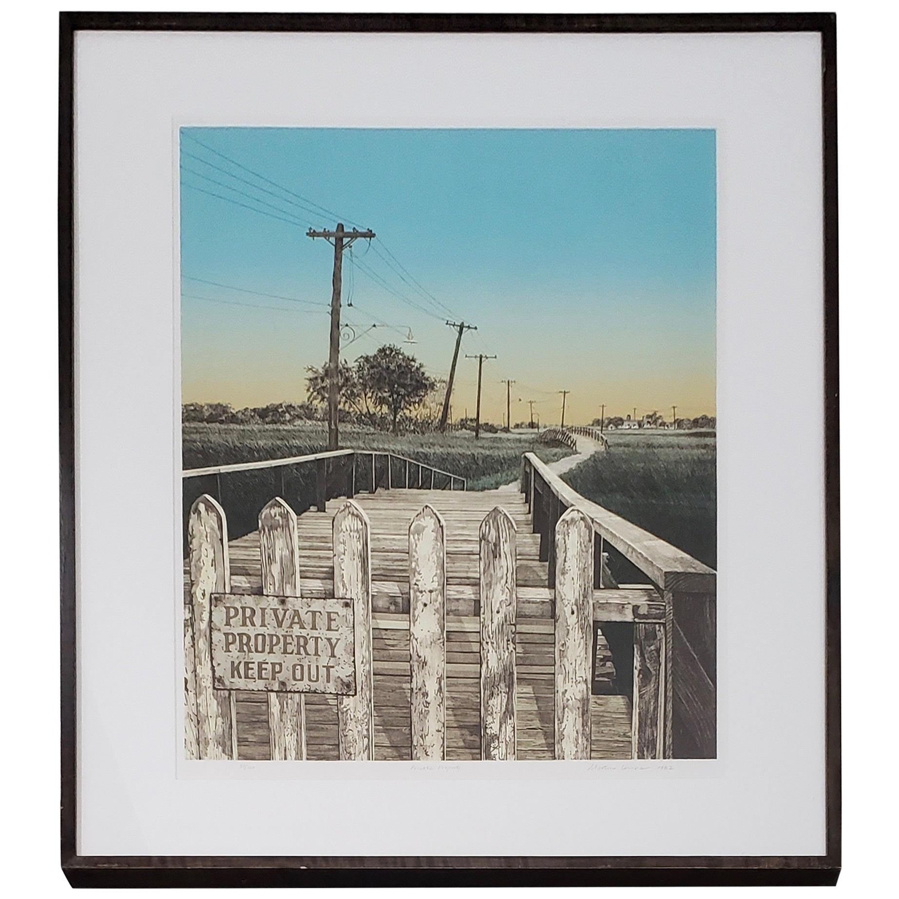 "Martin Levine ""Private Property"" Color Lithograph, circa 1982"