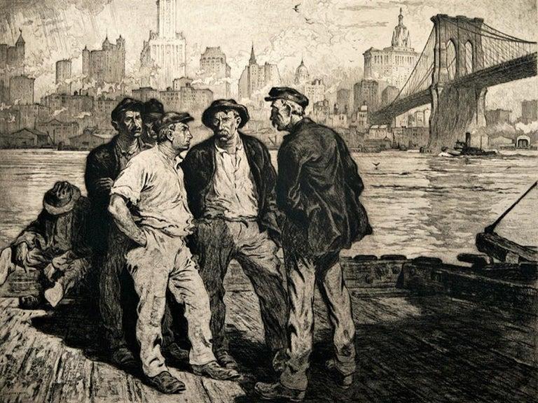 Dock Workers under the Brooklyn Bridge - American Modern Print by Martin Lewis
