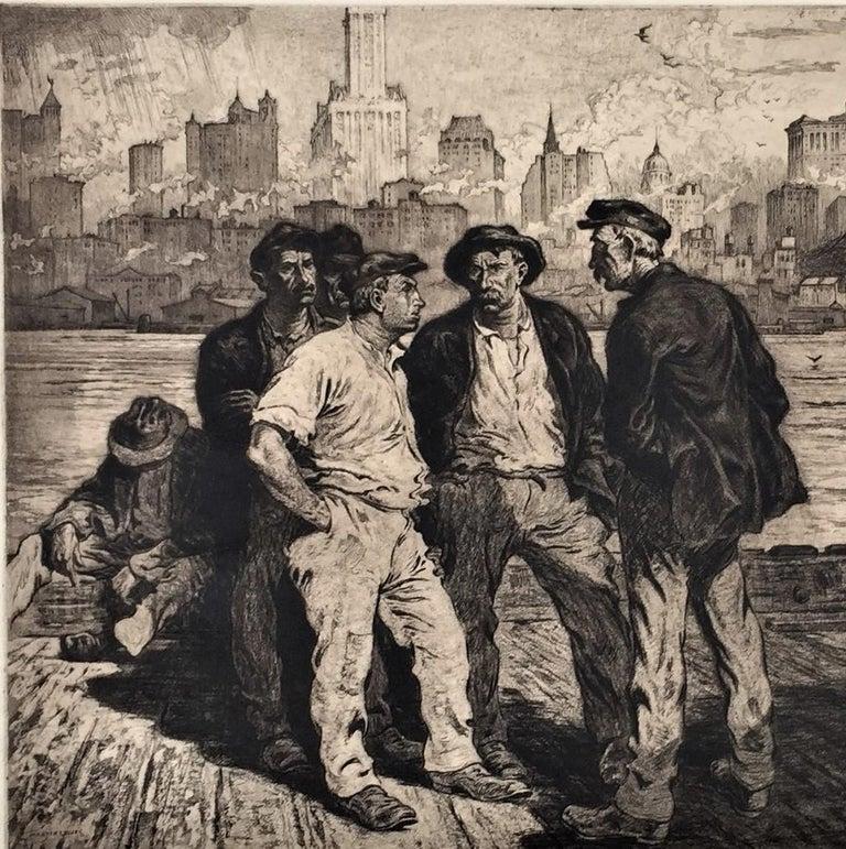 Dock Workers under the Brooklyn Bridge - Print by Martin Lewis