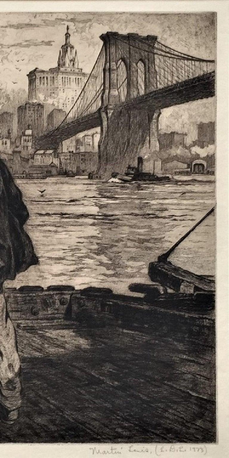 Dock Workers under the Brooklyn Bridge - Beige Figurative Print by Martin Lewis