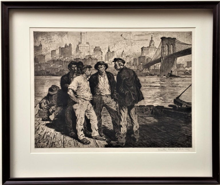 Martin Lewis, N.A.  (Dock Workers under the Brooklyn Bridge).  c. 1916-18. Aquatint and etching. McCarron 15.   17 3/4 x 23 3/4 (sheet 26 x 31). 5 recorded impressions (including 4 trial proofs), plus a proposed edition of 100 issued by Kennedy