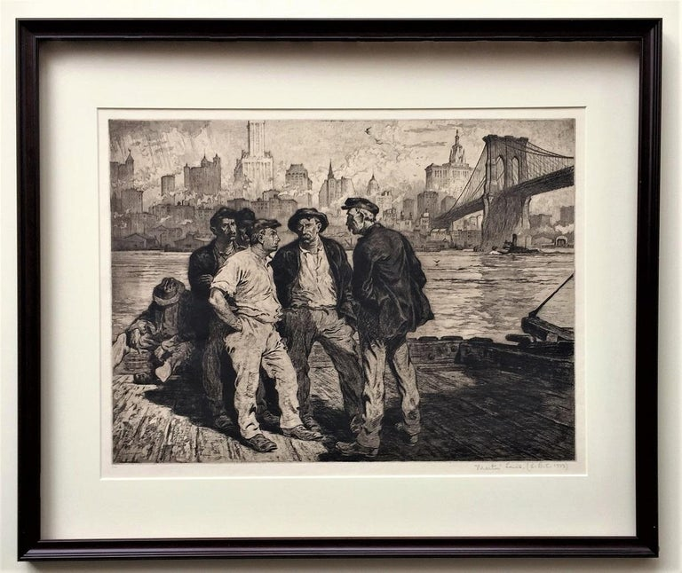 Martin Lewis Figurative Print - Dock Workers under the Brooklyn Bridge