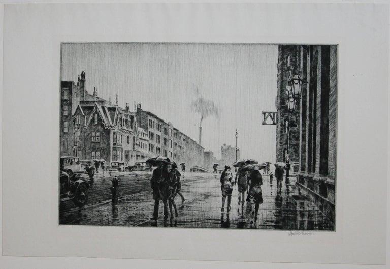 Rain on Murray Hill. - Print by Martin Lewis
