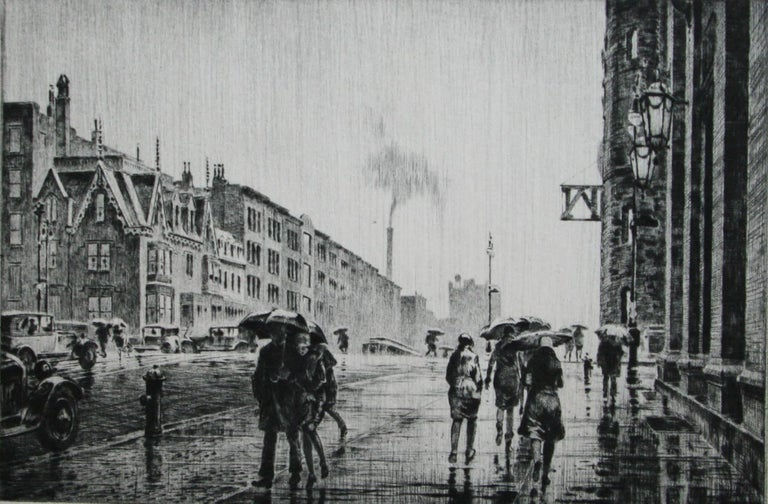 Martin Lewis Figurative Print - Rain on Murray Hill.