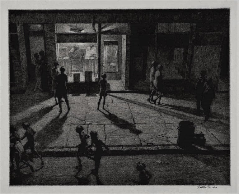 Spring Night, Greenwich Village - American Modern Print by Martin Lewis
