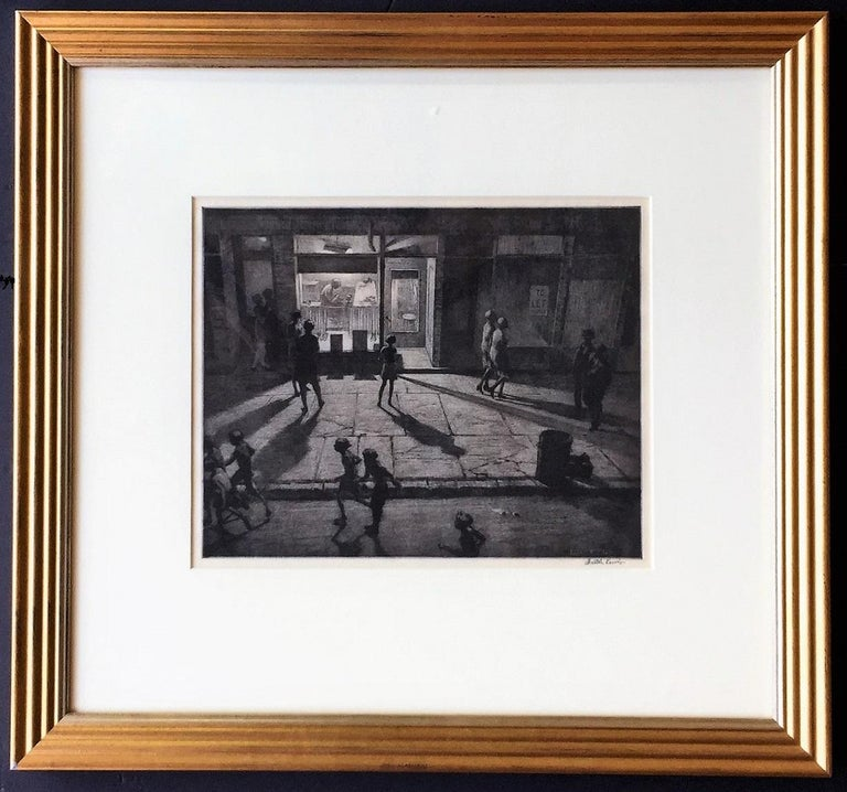 Spring Night, Greenwich Village. 1930. Drypoint and sand ground. McCarron 85. 10 x 12 3/8 (sheet 13 1/4 x 15 5/8)). Edition 92. A rich, tonal impression printed on laid paper. Signed in pencil. Housed in a 21 x 22 1/2-inch gold and silver Art Deco