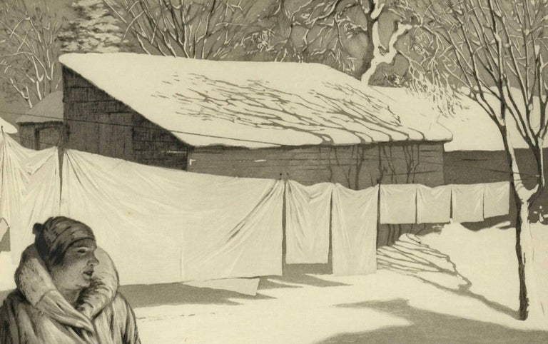 White Monday (Brilliant sun creates shadows on snow as woman hangs wash on line) - Print by Martin Lewis