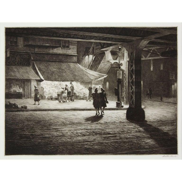 Yorkville Night - American Modern Print by Martin Lewis