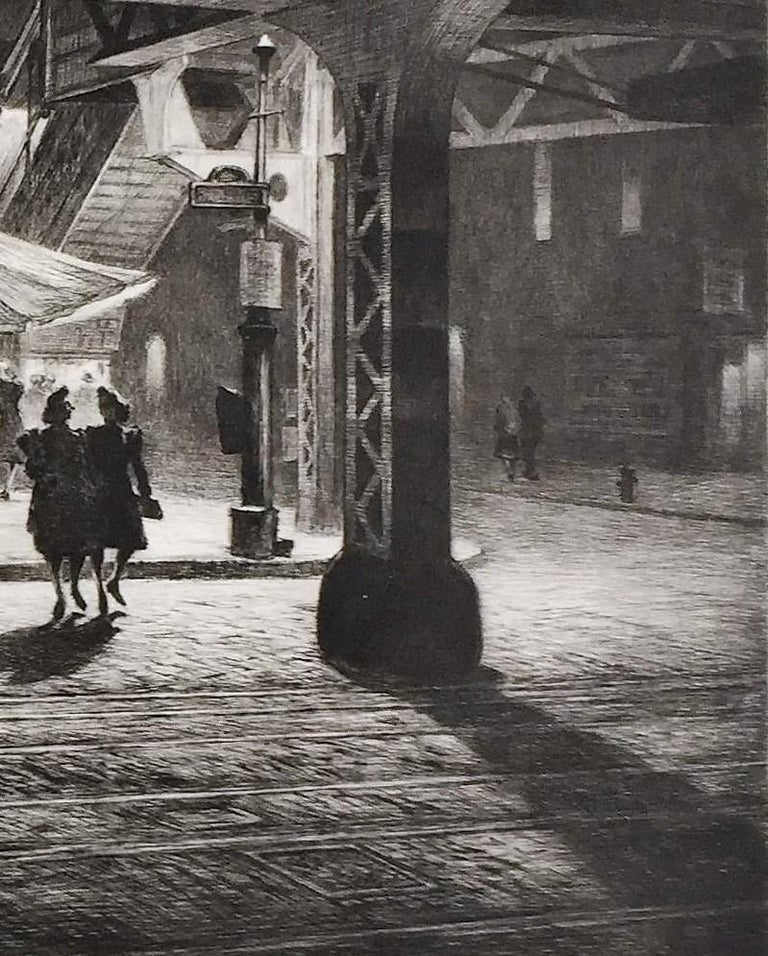 Yorkville Night. 1947. Drypoint. McCarron 140. 8 1/2 x 11 3/8 (sheet 10 7/8 x 14 1/2). Edition of 18 recorded impressions, including 1 trial proof. Provenance: Henry Christensen, III. A brilliant, luminous impression with rich, velvety burr, printed