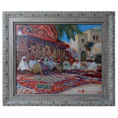 Martin Lindenau, Peinting Lively Square in Morocco, 1980s.