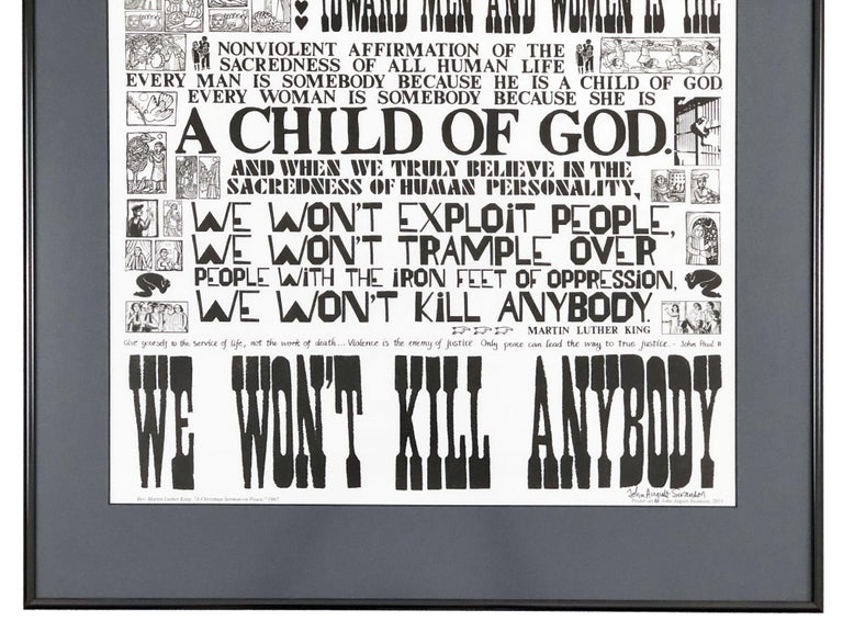 Mid-Century Modern Martin Luther King, Jr. Sermon on Peace Lithograph by John August Swanson For Sale