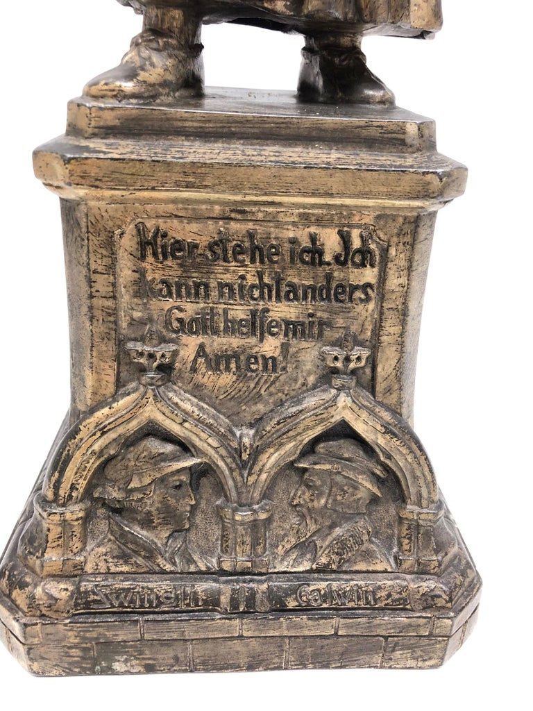 Metal Martin Luther Protestant Reformation Statue 1930s Vintage, German For Sale