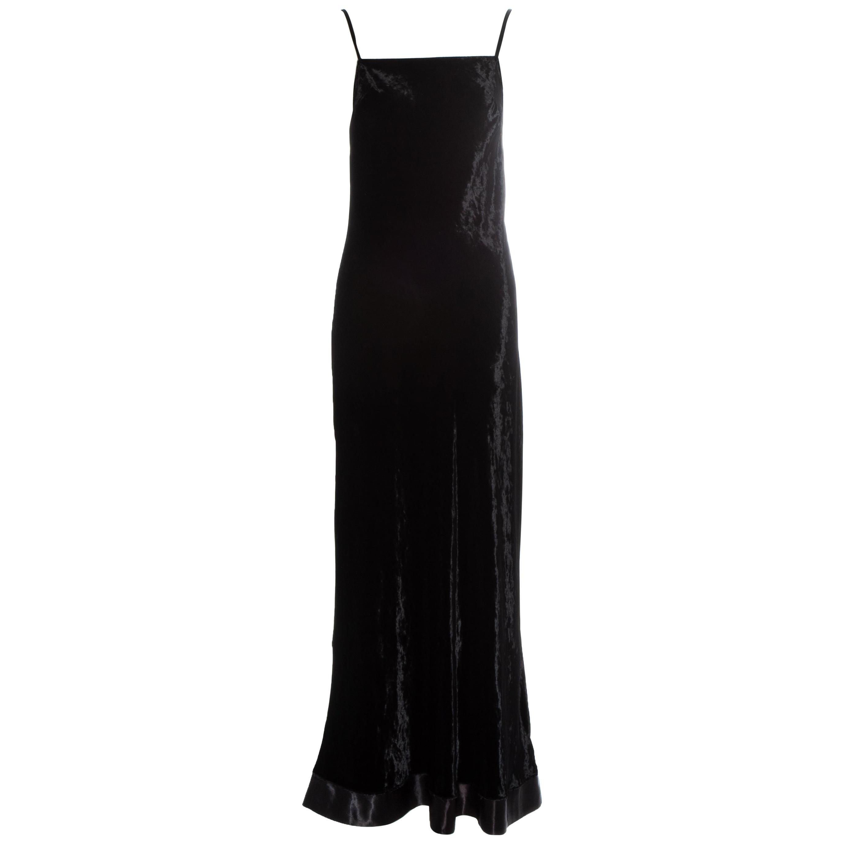 Martin Margiela black velvet maxi slip dress, fw 1995