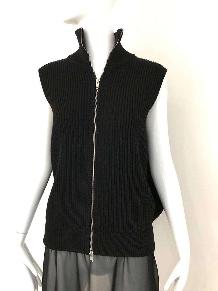 Martin Margiela Sleeveless black wool maxi cardigan top with sheer silk. Fit size 4/6