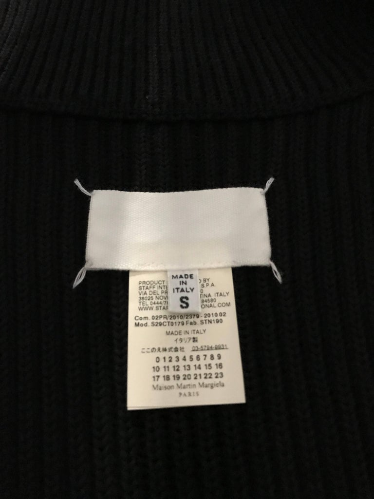Martin Margiela Black Wool Maxi Cardigan Top In Excellent Condition For Sale In Beverly Hills, CA