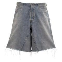 Martin Margiela blue denim artisanal wide cut-off shorts, fw 2001