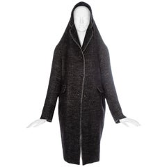 Martin Margiela dark grey wool coat with an elongated hood-collar, fw 2005