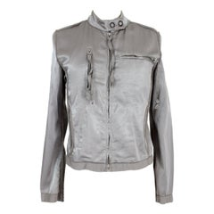 Martin Margiela Gray Cotton Soft Biker Jacket 2000s