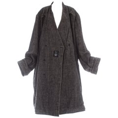 Martin Margiela grey wool and linen XXL size 78 double inside coat, ca. 2000