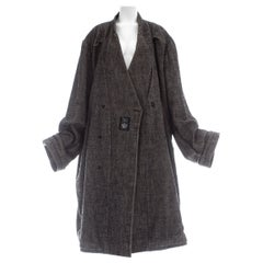 Martin Margiela grey wool and linen XXL size 78 double inside coat, fw 2000