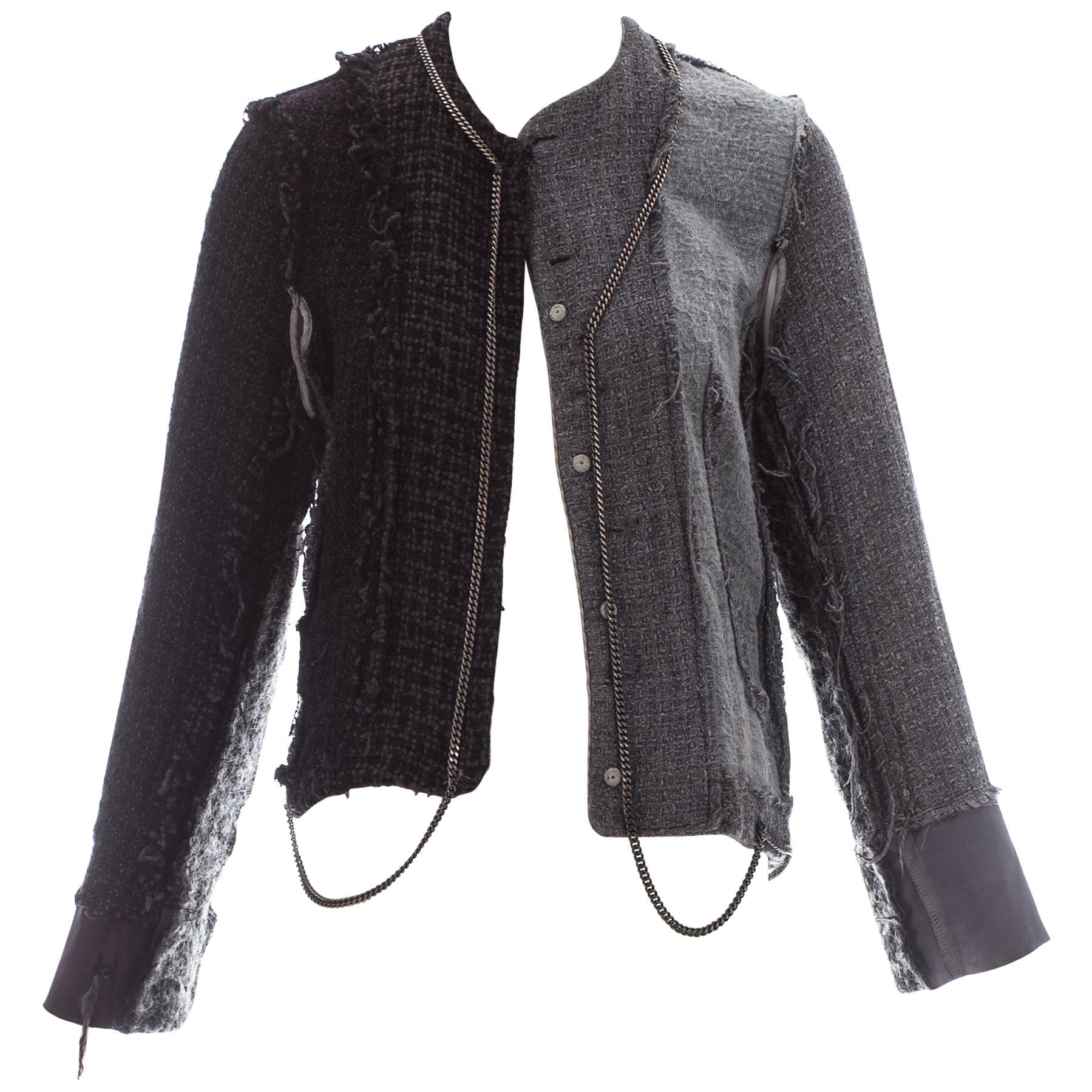 Martin Margiela grey wool tweed reconstructed jacket with chains, fw 2004