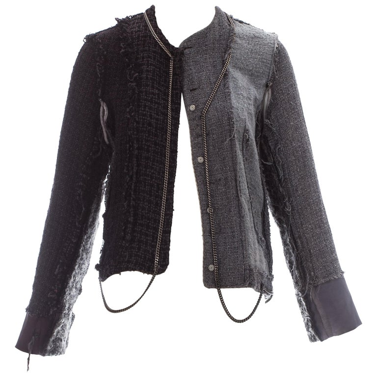 e6b8dba22e Martin Margiela grey wool tweed reconstructed vintage jacket, fw 2004 For  Sale