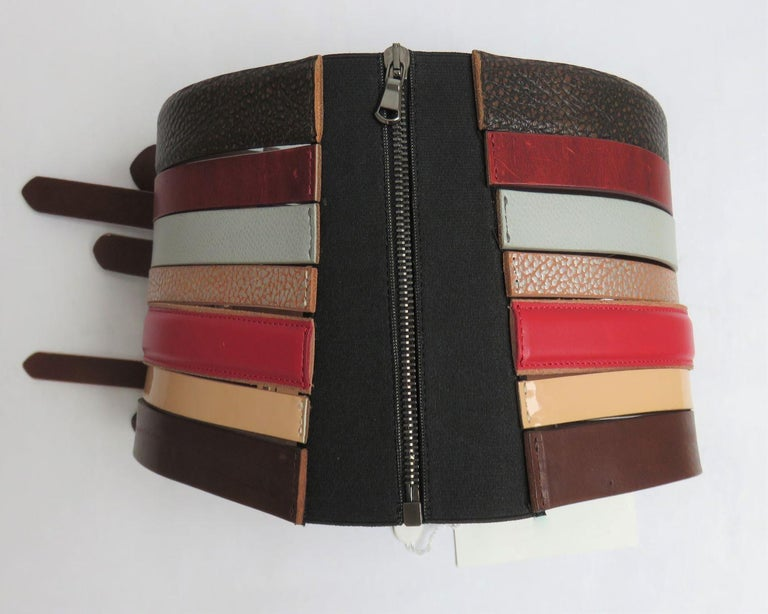 Brown Martin Margiela New Artisanal Stacked Leather Belt For Sale