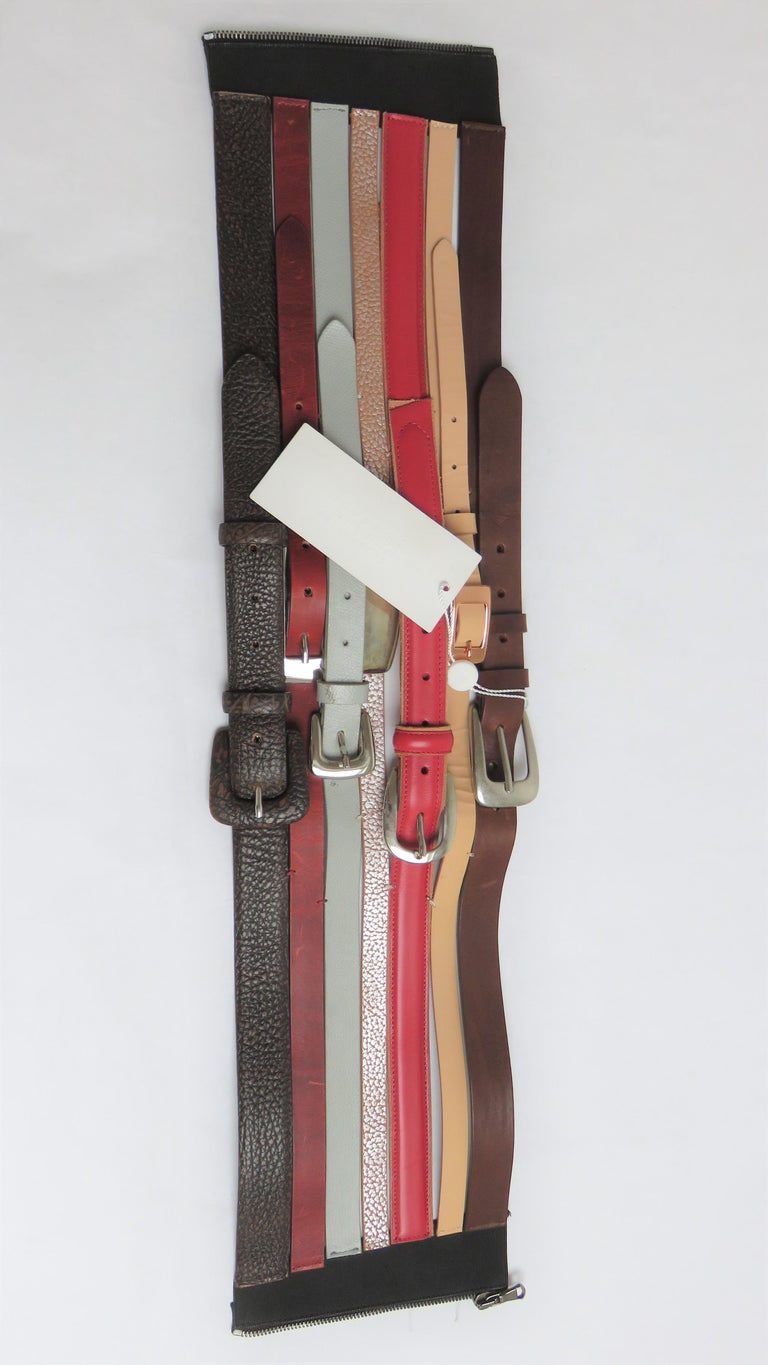Martin Margiela New Artisanal Stacked Leather Belt In Excellent Condition For Sale In New York, NY