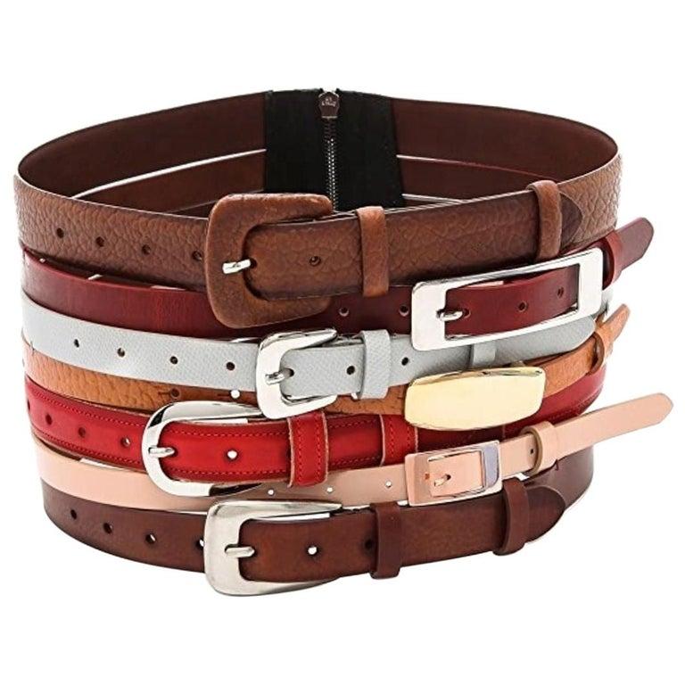 Martin Margiela New Artisanal Stacked Leather Belt For Sale