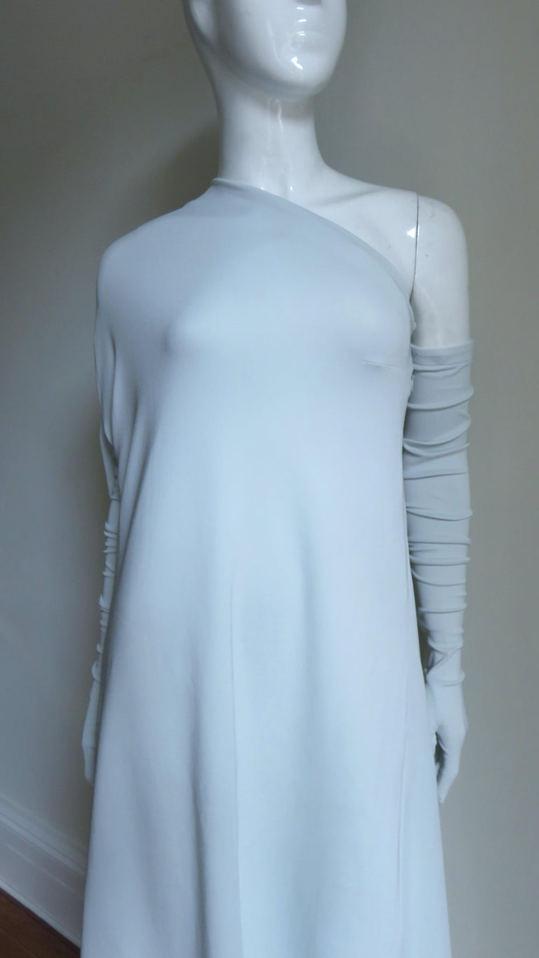 Martin Margiela New One Shoulder Dress and Gloves In Excellent Condition For Sale In New York, NY