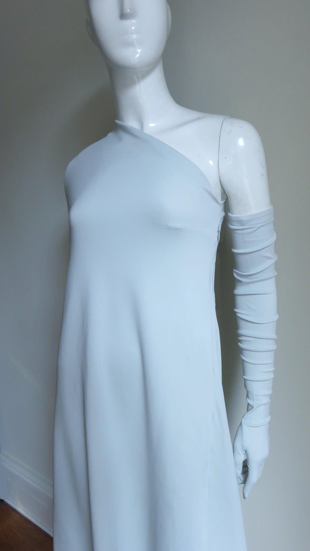Women's Martin Margiela New One Shoulder Dress and Gloves For Sale