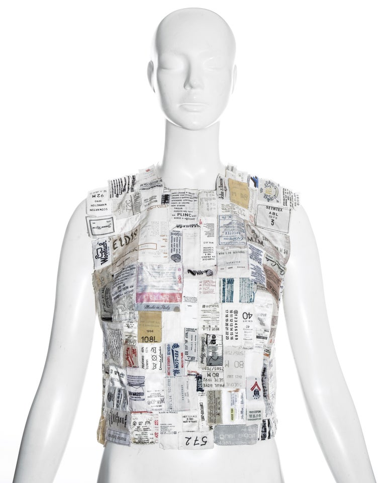 Gray Martin Margiela shirtfront made up of reclaimed vintage labels, ss 2001 For Sale