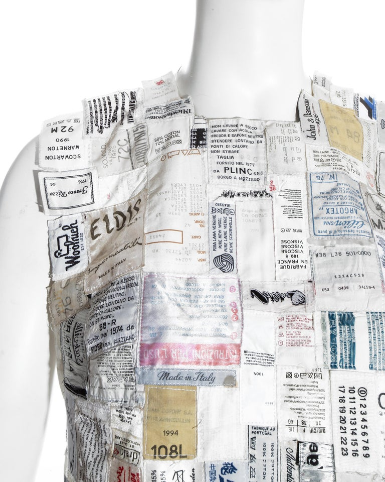 Martin Margiela shirtfront made up of reclaimed vintage labels, ss 2001 In Good Condition For Sale In London, GB
