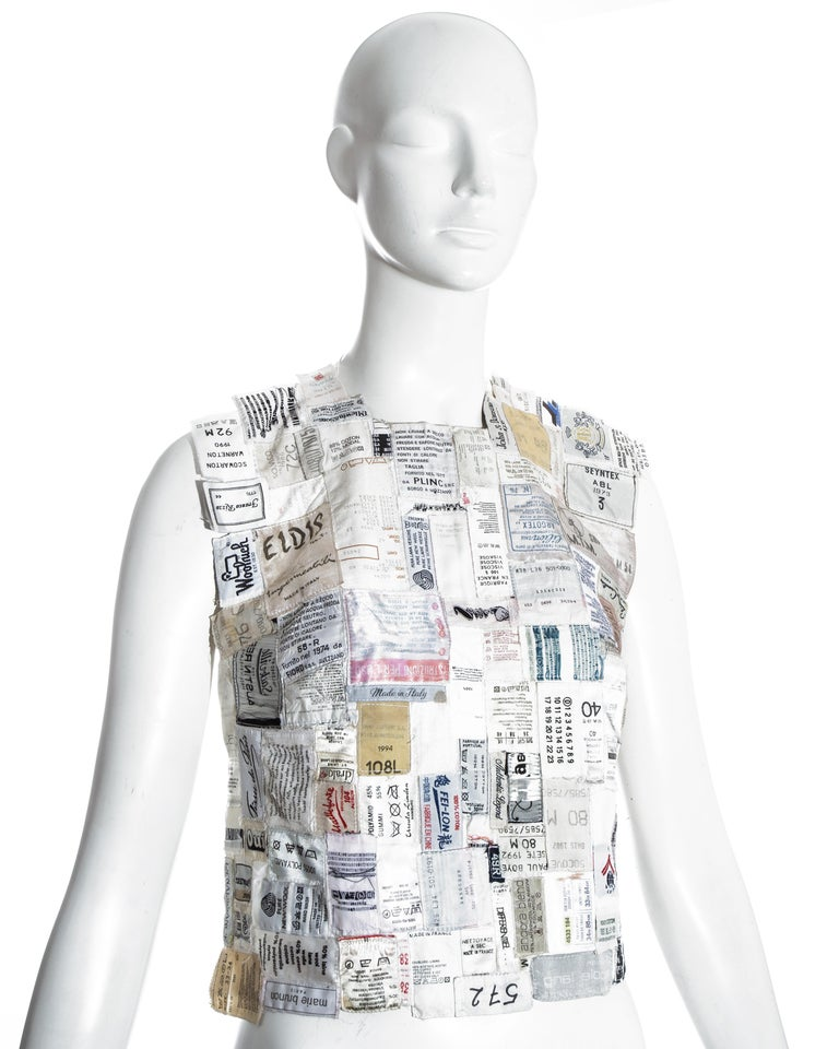 Women's Martin Margiela shirtfront made up of reclaimed vintage labels, ss 2001 For Sale