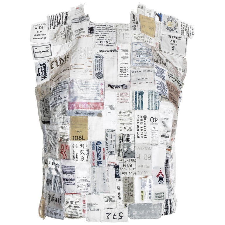 Martin Margiela shirtfront made up of reclaimed vintage labels, ss 2001 For Sale