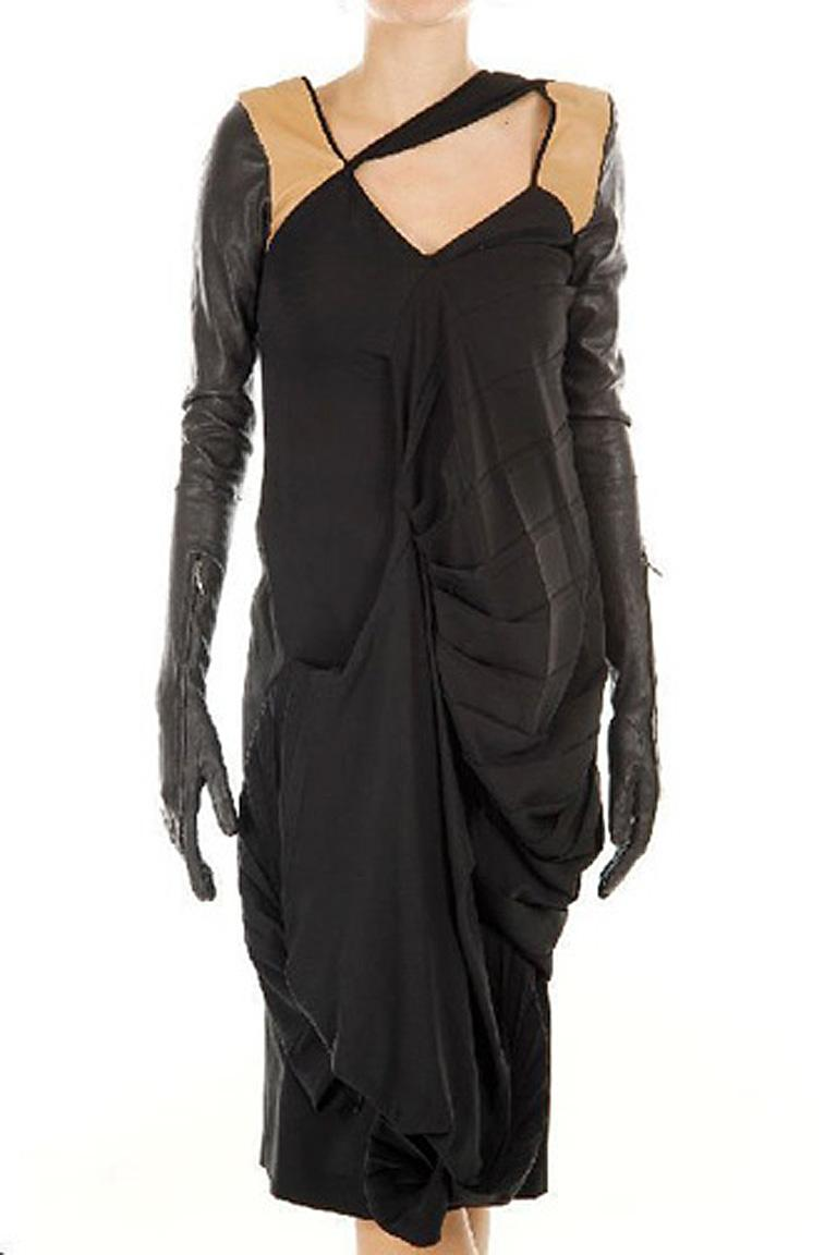 Martin Margiela Silk and Lambkin Leather Glove Dress Rare  New! In New Condition For Sale In Los Angeles, CA