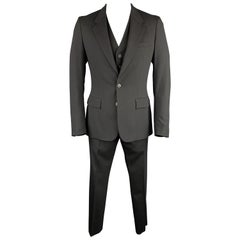 MARTIN MARGIELA Size 42 Black Wool Blend Notch Lapel 3 Piece Suit