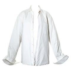 Martin Margiela white cotton oversized shirt jacket with quilted lining, fw 1996