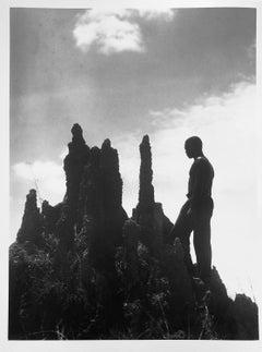 Liberia: Liberian in front of a Termite Hill, circa 1930, Silver Gelatin Print