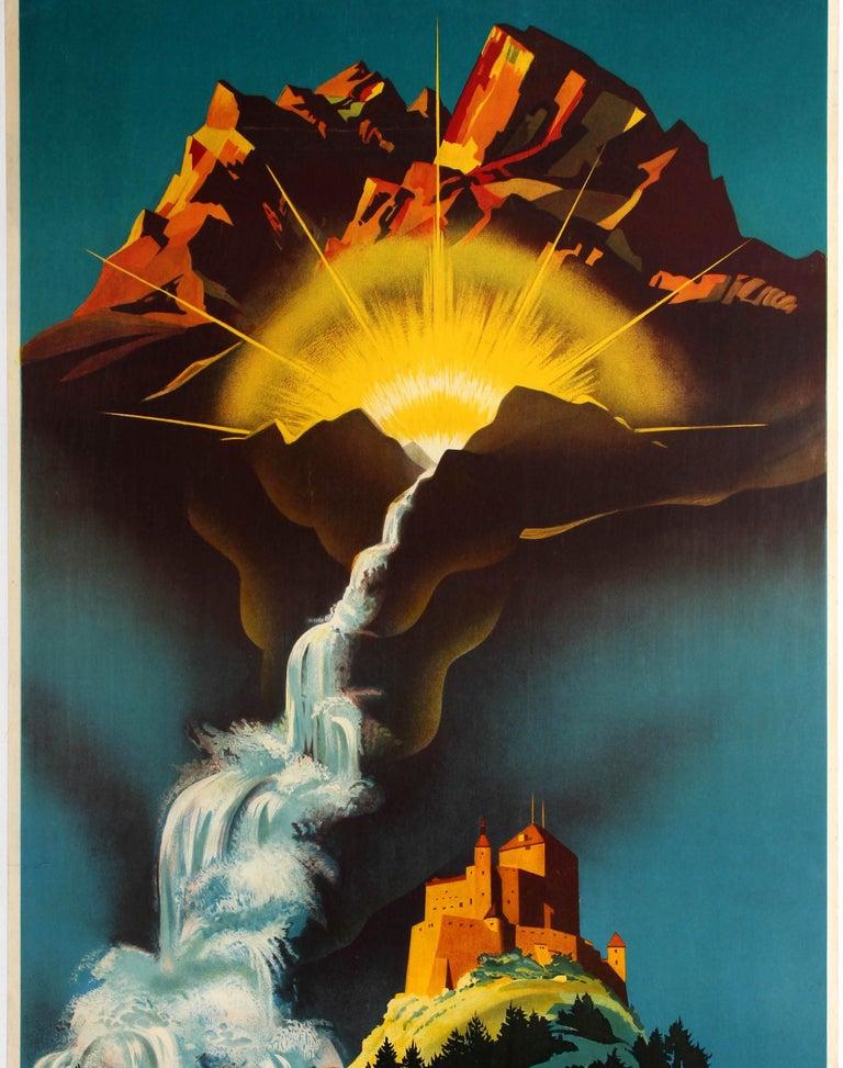 Original Vintage Travel Poster Bad Schuls Tarasp Vulpera Spa Engadin Castle Alps - Black Print by Martin Peikert