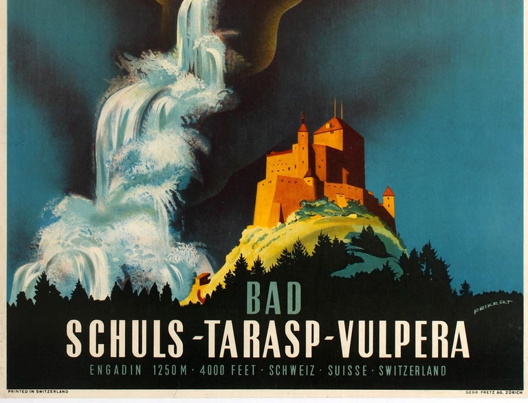 Original vintage travel poster promoting the Swiss health spa resort of Bad Schuls-Tarasp-Vulpera located in the alpine valley of Engadin 1250m 4000 feet in Switzerland featuring stunning artwork by the Swiss graphic artist Martin Peikert