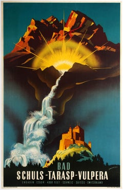 Original Vintage Travel Poster Bad Schuls Tarasp Vulpera Spa Engadin Castle Alps