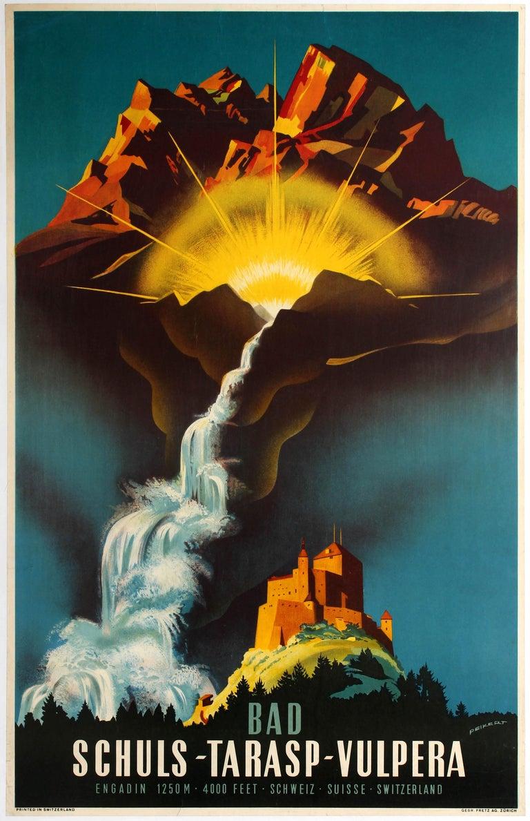 Martin Peikert Print - Original Vintage Travel Poster Bad Schuls Tarasp Vulpera Spa Engadin Castle Alps