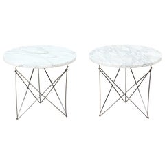 Martin Perfit Marble and Steel Side Tables for Rene Brancusi