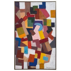 Martin Rosenthal Abstract Colorful Oil on Paper on Board Framed Vintage