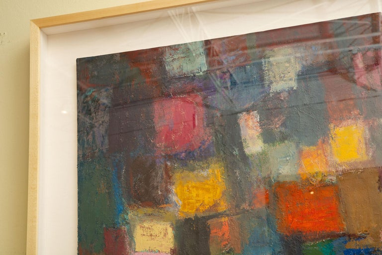 Mid-Century Modern Martin Rosenthal Abstract Orange, Blue, Green Oil on Paper Custom Framed Vintage For Sale